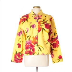 Chico's Yellow Floral Denim Jacket